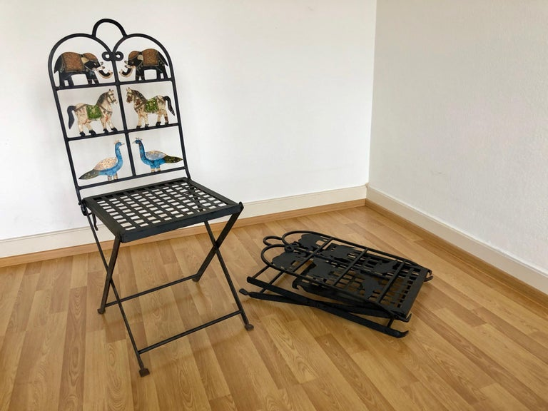 Mid-20th Century French Foldable Pair of Wrought Iron Garden Chairs with Animals Elephants Horse For Sale