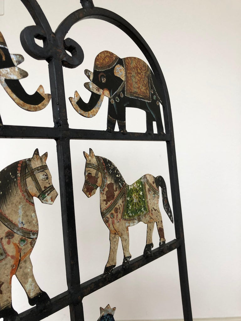 French Foldable Pair of Wrought Iron Garden Chairs with Animals Elephants Horse For Sale 2