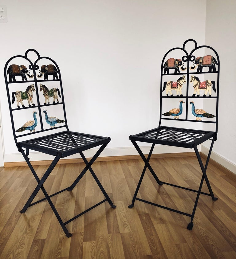 French Foldable Pair of Wrought Iron Garden Chairs with Animals Elephants Horse For Sale 3