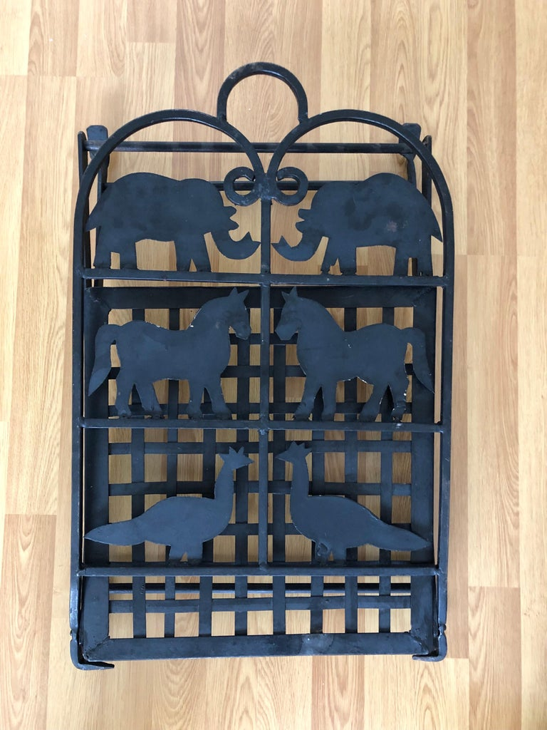 French Foldable Pair of Wrought Iron Garden Chairs with Animals Elephants Horse For Sale 4