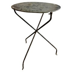 French Folding Bistro Table with a Zinc Top