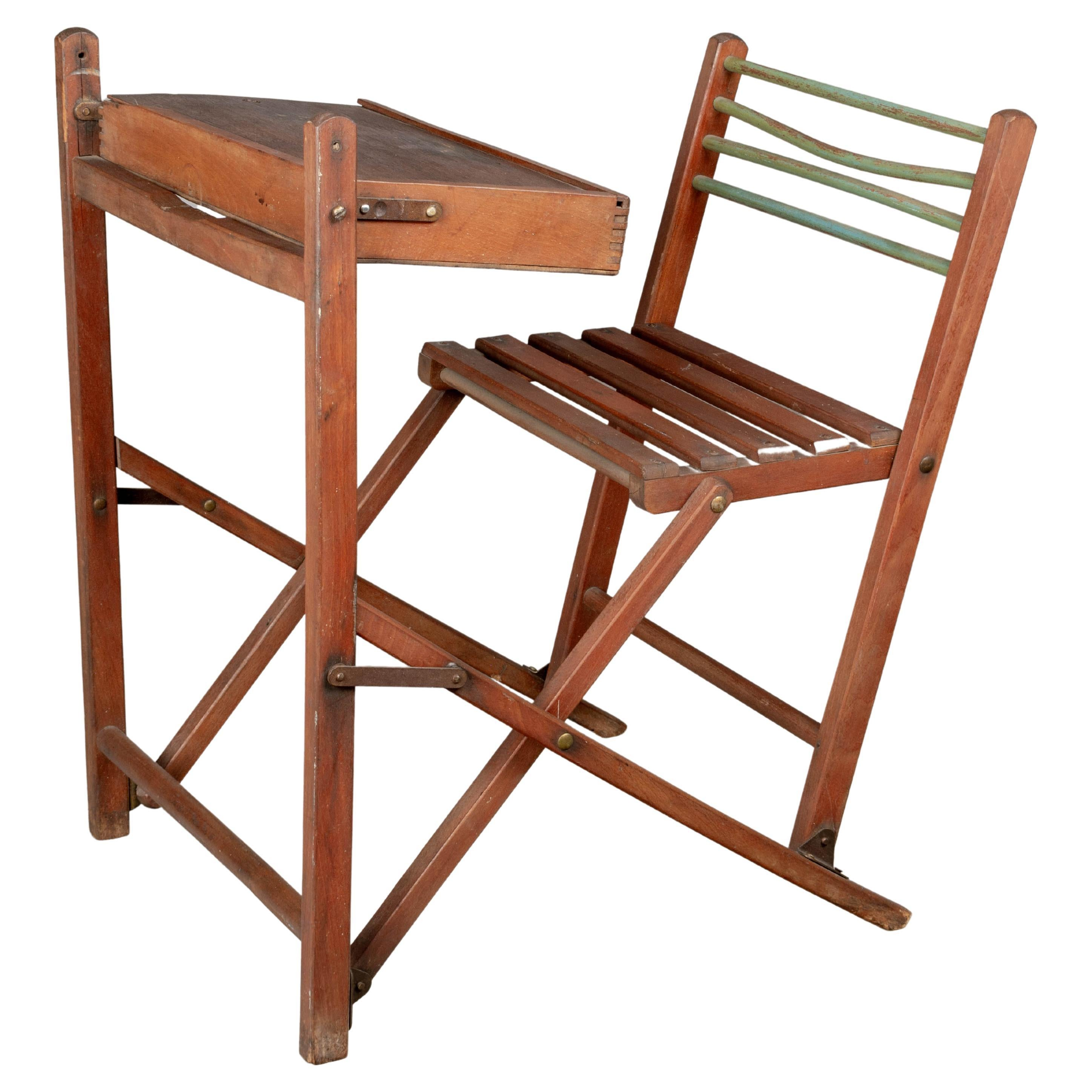 French Folding Child's Desk and Chair