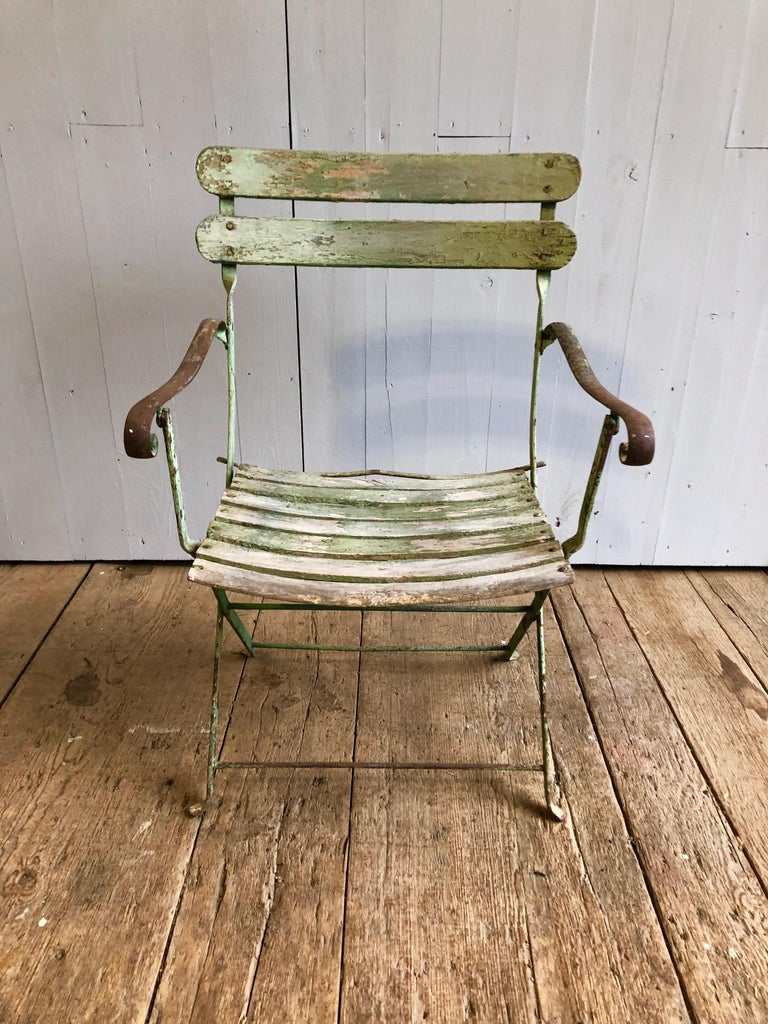 French Folding Garden Chair, 19th Century In Good Condition For Sale In Doylestown, PA