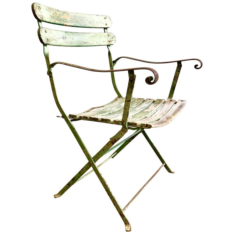 French Folding Garden Chair, 19th Century For Sale