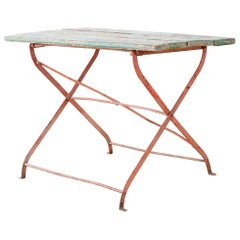 French Folding Iron Garden or Bistro Style Dining Table