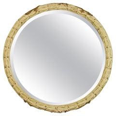 French Foliate Round Beveled Glass Mirror
