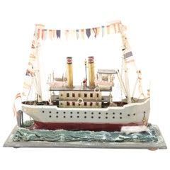 French Folk-Art Steamship Model
