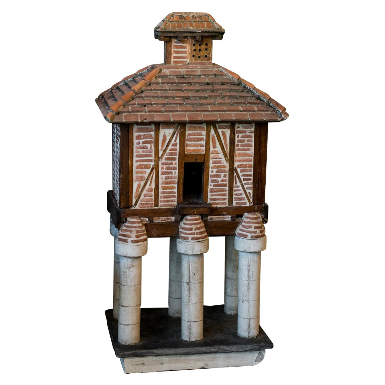 French Folk Art Terracotta Birdhouse on Pillars