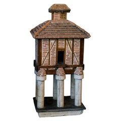French Folk Art Terracotta Birdhouse on Pillars