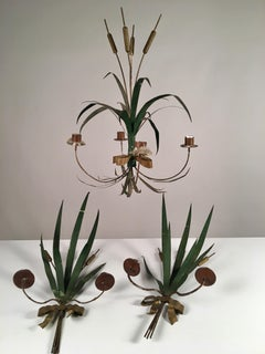 French Folk Art Tole Chandelier And Sconces, 19th Century