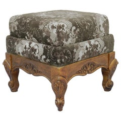French Stool Vintage Louis XV Rev Oak Upholstered Recover or Use