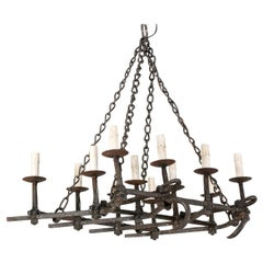 French Forged-Iron 12-Light Chandelier, Mid-20th Century