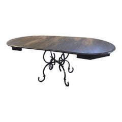 French Forged Iron Base Dining Table with Black Lacquered Extension Top