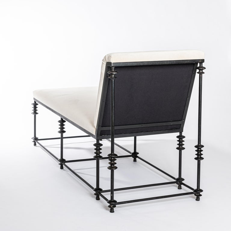 French Forged Iron Chaise Longe Offwhite Velvet from the 1940s For Sale 3