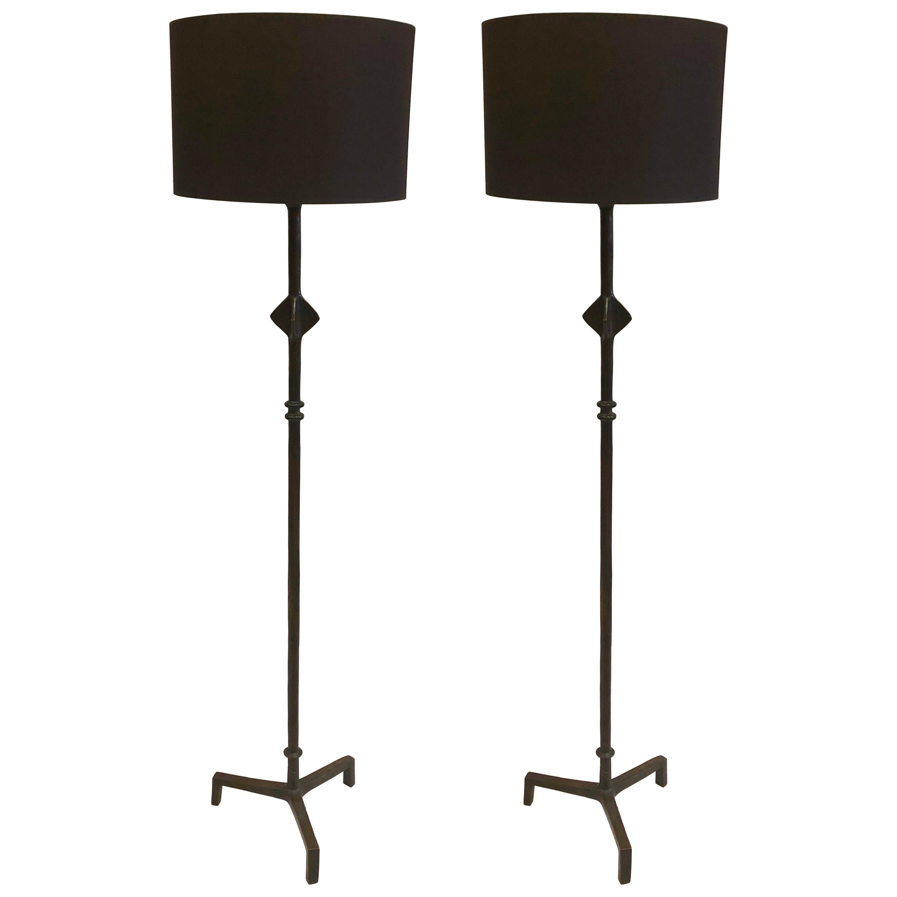 French Forged Iron 'Star' Floor Lamps after Giacometti, Jean Michel Frank, Pair