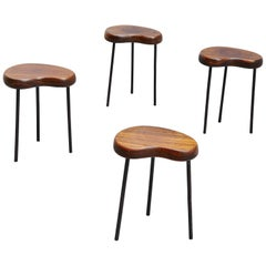 French Forme Libre Stools Charlotte Perriand Style, France, 1950