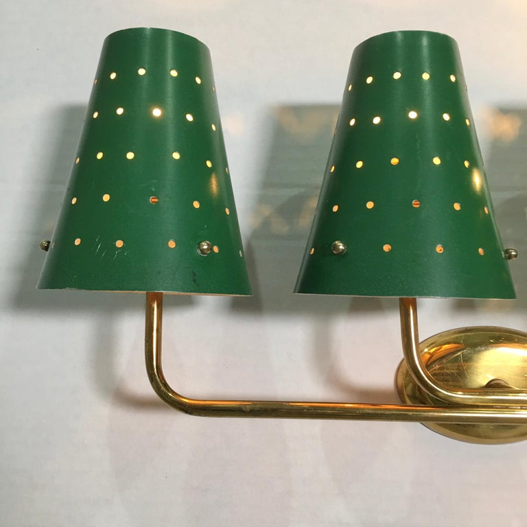 French Four-Arm Brass Sconce with Perforated Metal Shades For Sale 3