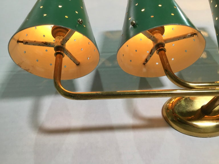 French Four-Arm Brass Sconce with Perforated Metal Shades For Sale 6