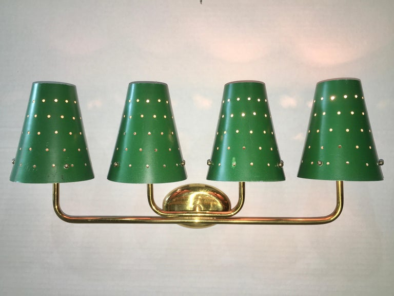 Finnish French Four-Arm Brass Sconce with Perforated Metal Shades For Sale