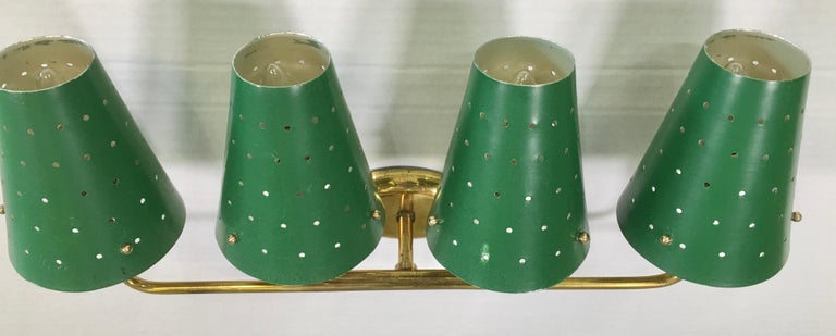 French Four-Arm Brass Sconce with Perforated Metal Shades In Good Condition For Sale In Hingham, MA