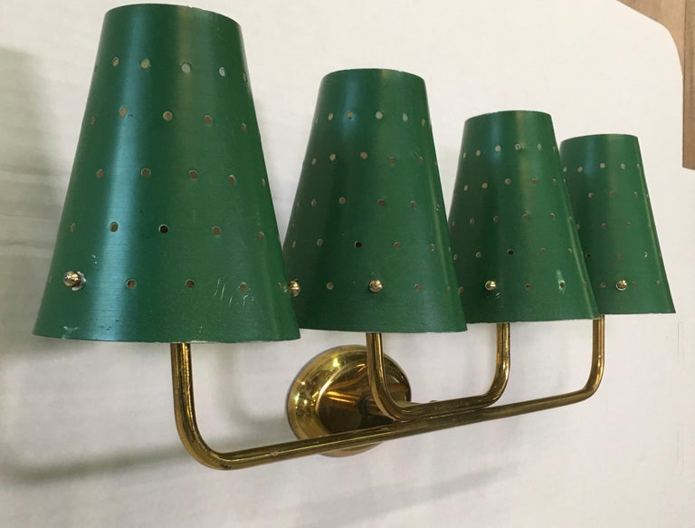 Mid-20th Century French Four-Arm Brass Sconce with Perforated Metal Shades For Sale