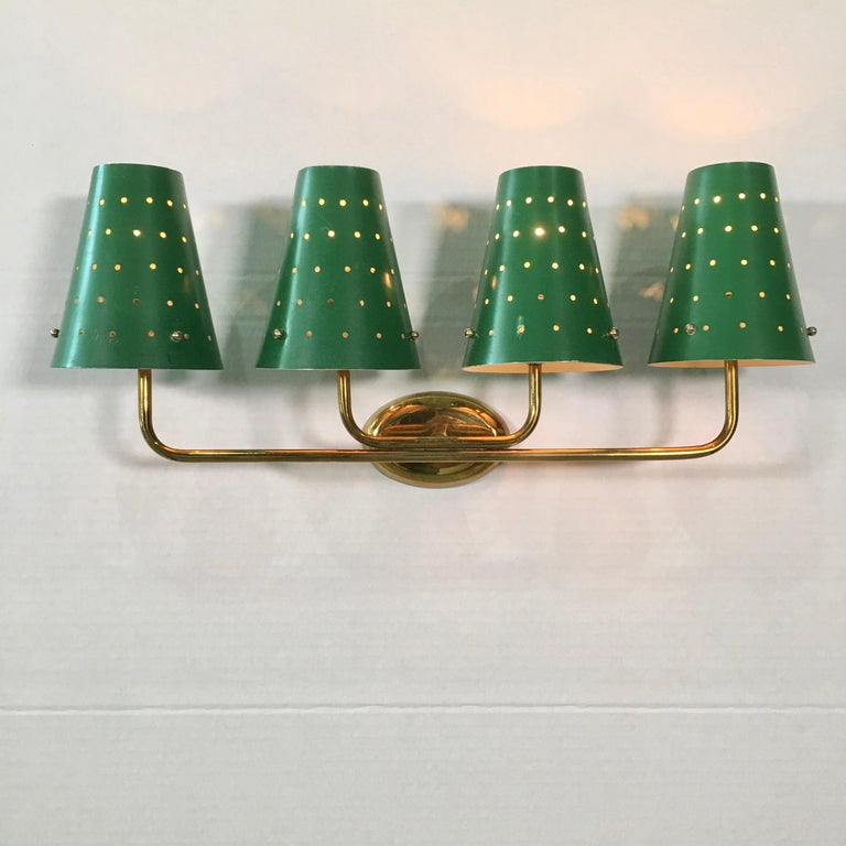 French Four-Arm Brass Sconce with Perforated Metal Shades For Sale 1