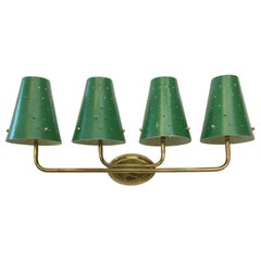 French Four-Arm Brass Sconce with Perforated Metal Shades
