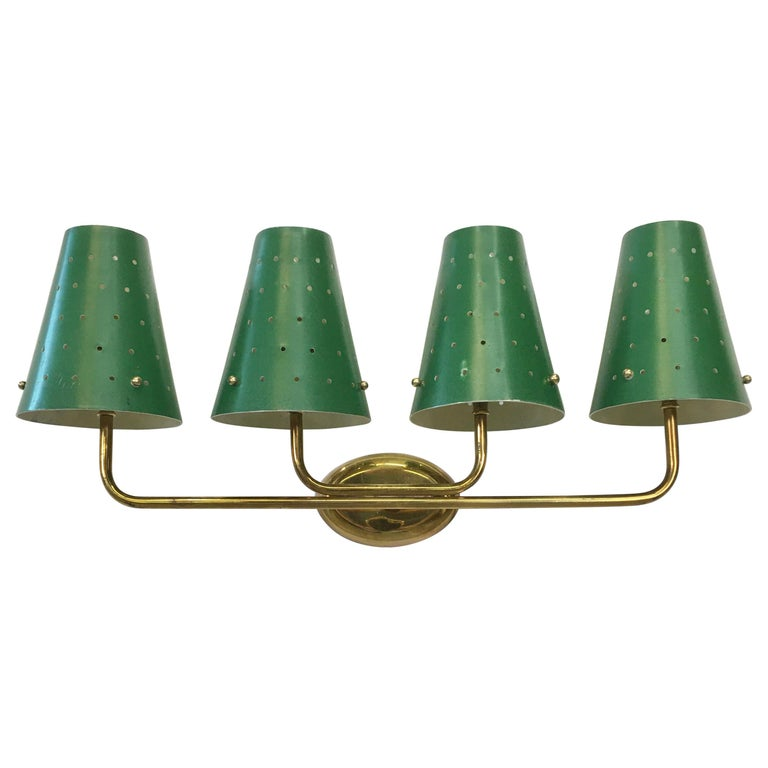 French Four-Arm Brass Sconce with Perforated Metal Shades For Sale