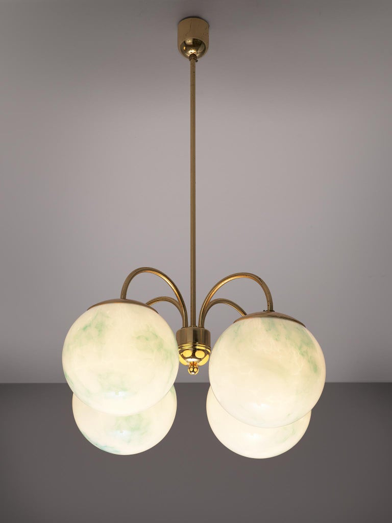 Mid-Century Modern French Four-Armed Pendants with Marble Glass Spheres For Sale