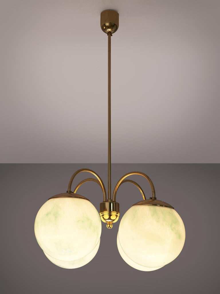 French Four-Armed Pendants with Marble Glass Spheres In Good Condition For Sale In Waalwijk, NL