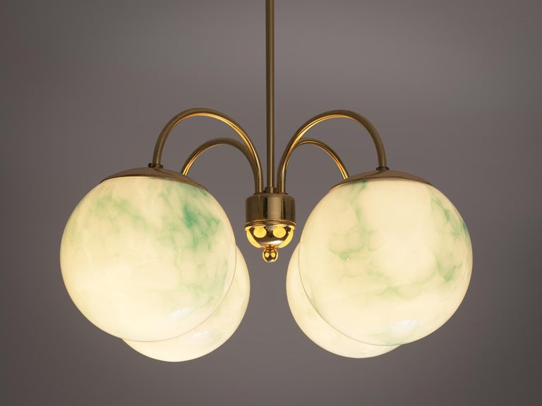 Mid-20th Century French Four-Armed Pendants with Marble Glass Spheres For Sale