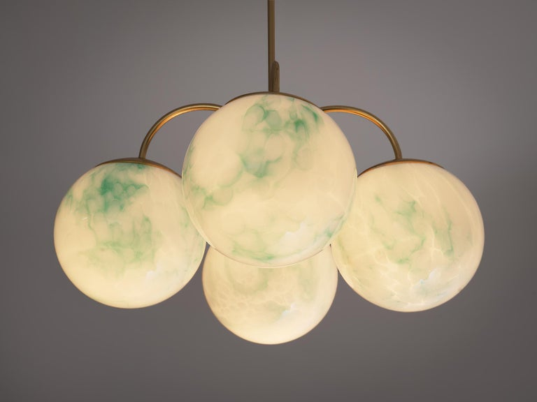 Brass French Four-Armed Pendants with Marble Glass Spheres For Sale