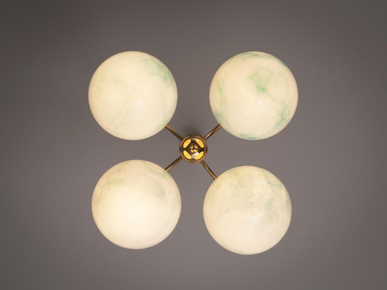 French Four-Armed Pendants with Marble Glass Spheres For Sale 1