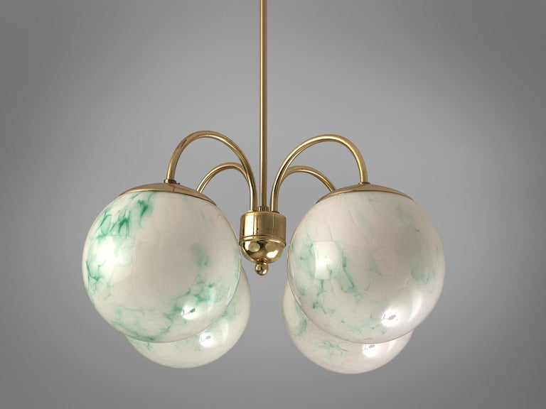 French Four-Armed Pendants with Marble Glass Spheres For Sale 2