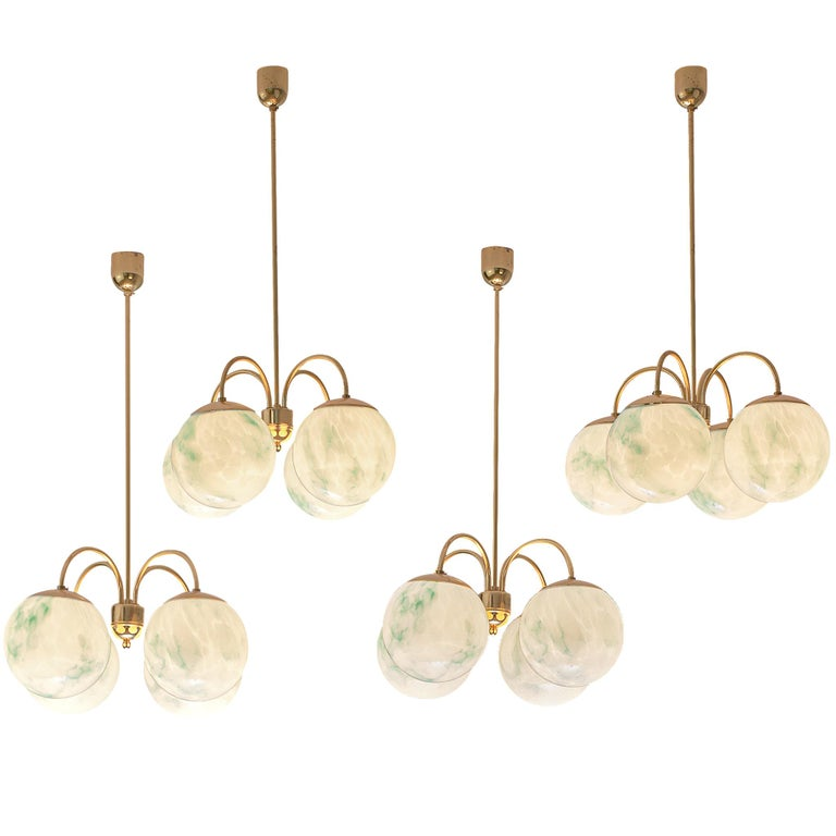 French Four-Armed Pendants with Marble Glass Spheres For Sale