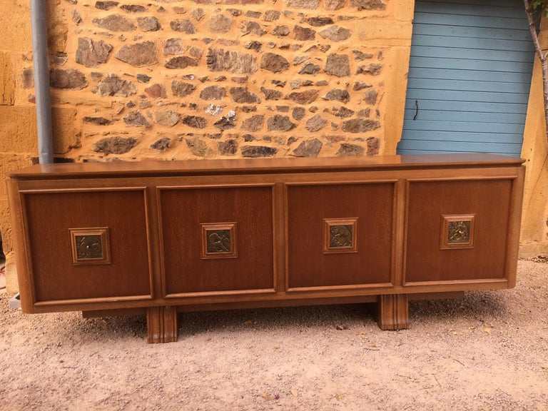 French Four Doors Bronze Buffet in the Style of Maxime Old, 1940s For Sale 7