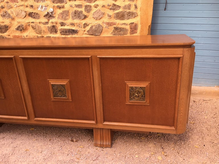 French Four Doors Bronze Buffet in the Style of Maxime Old, 1940s For Sale 8