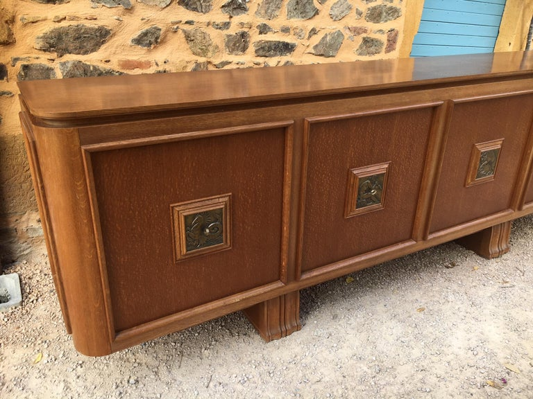 French Four Doors Bronze Buffet in the Style of Maxime Old, 1940s For Sale 9