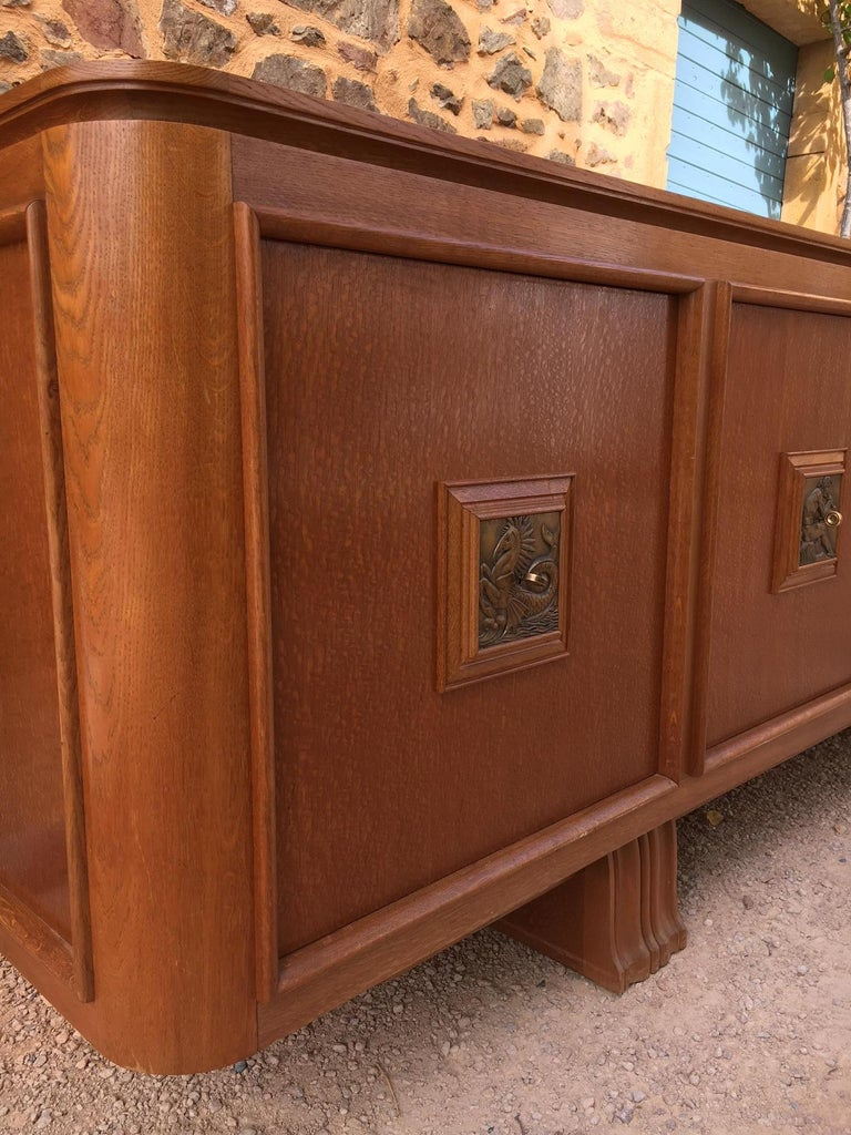 French Four Doors Bronze Buffet in the Style of Maxime Old, 1940s For Sale 4