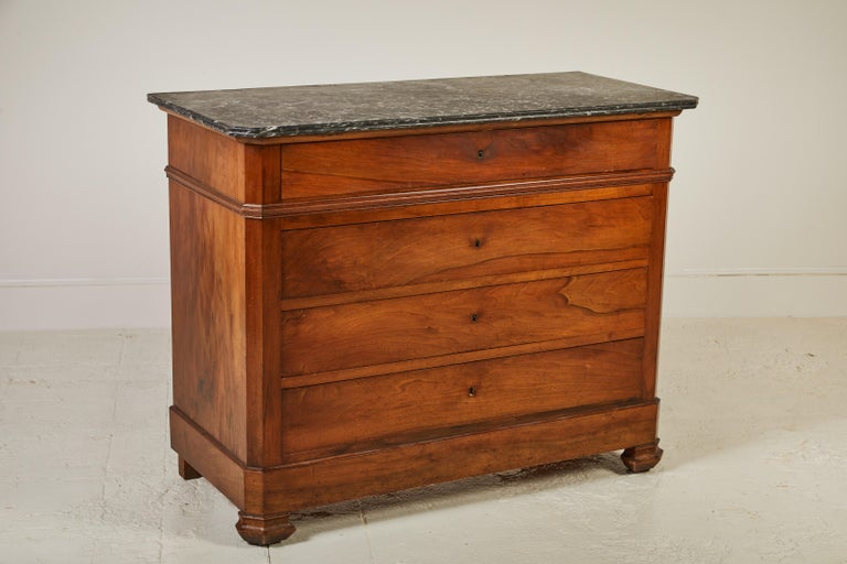 20th Century French Four-Drawer Mahogany Dresser with Stone Top For Sale