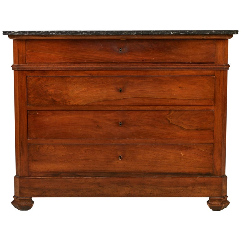 French Four-Drawer Mahogany Dresser with Stone Top For Sale