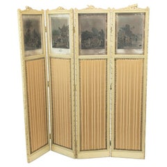 French Four Fold Carved Screen