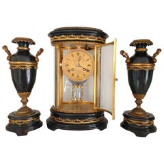 French Four Glass Library Clock Garniture, circa 1860