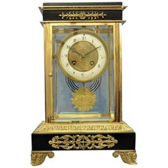 French Four Glass Mantel Clock