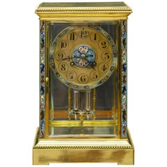 French Four Glass Mantel Clock with Champleve Decoration