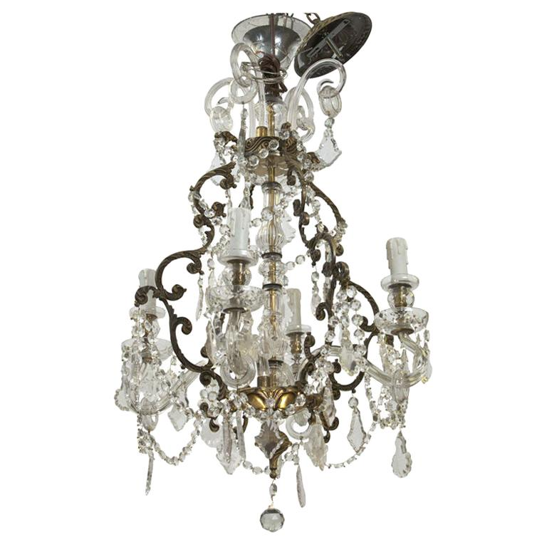 French Four-Light Crystal Chandelier with Glass Arms For Sale