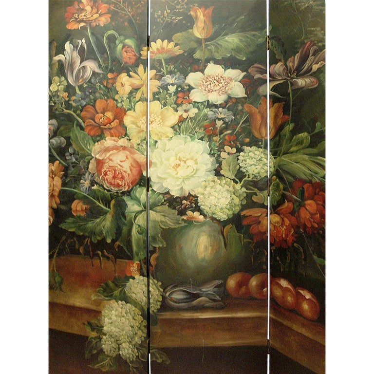 Louis XVI French Four-Panel Painted Screen For Sale