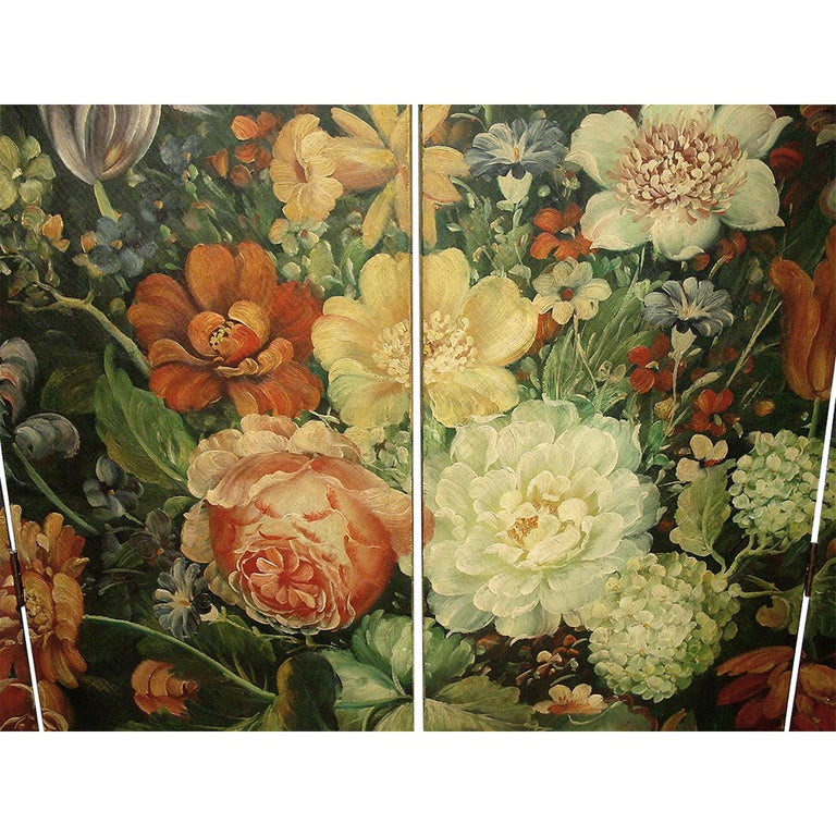 French Four-Panel Painted Screen In Excellent Condition For Sale In West Palm Beach, FL