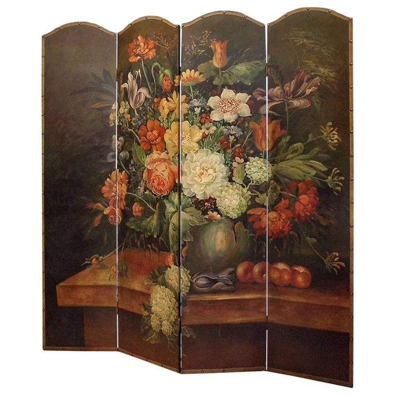 French Four-Panel Painted Screen For Sale