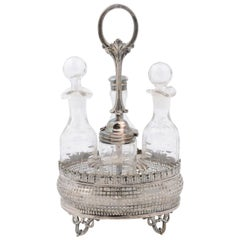 French Four-Piece Crystal and Silver Cruet Set with Foliage, Squares and Beads